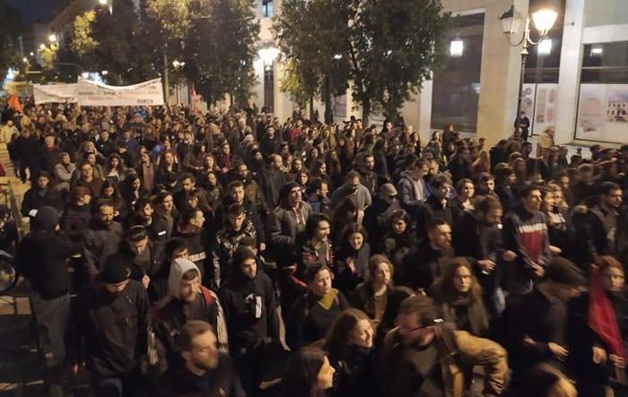 Yunanistan'da göçmenlere destek yürüyüşü