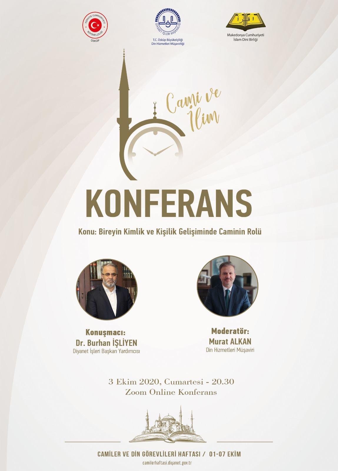 """""""Bireyin Kimlik ve Gelişiminde Caminin Rolü"""" konulu online konferans düzenlenecek"""