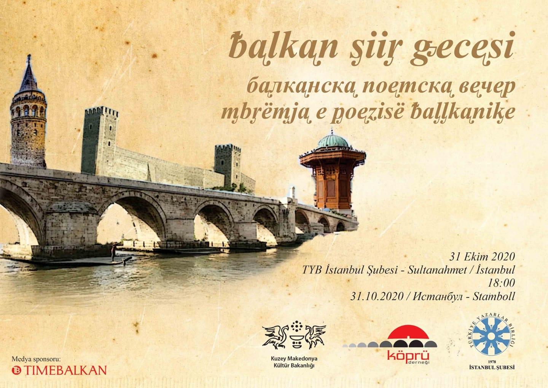 """Köprü Derneği, İstanbul'da """"Balkan Şiir Gecesi"""" düzenleyecek"""