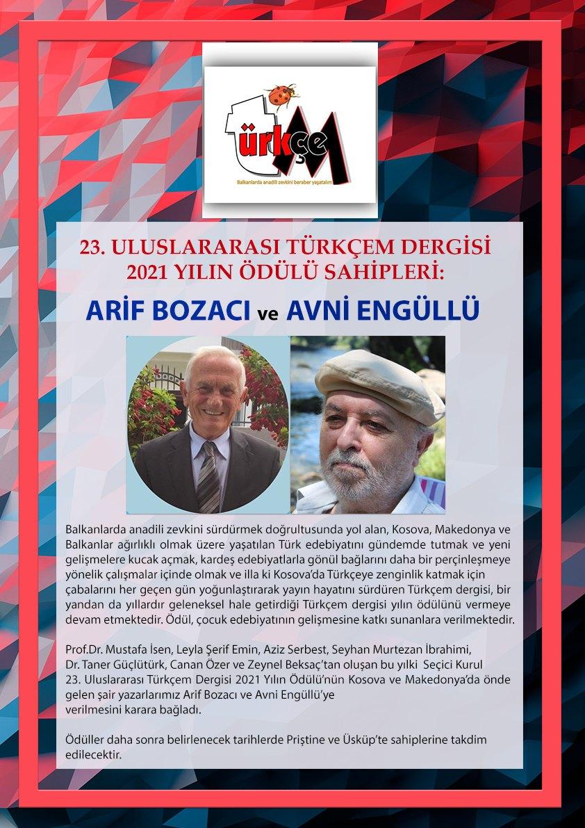 23. Uluslararası Türkçem Dergisi 2021 yılı ödülü sahiplerini buldu
