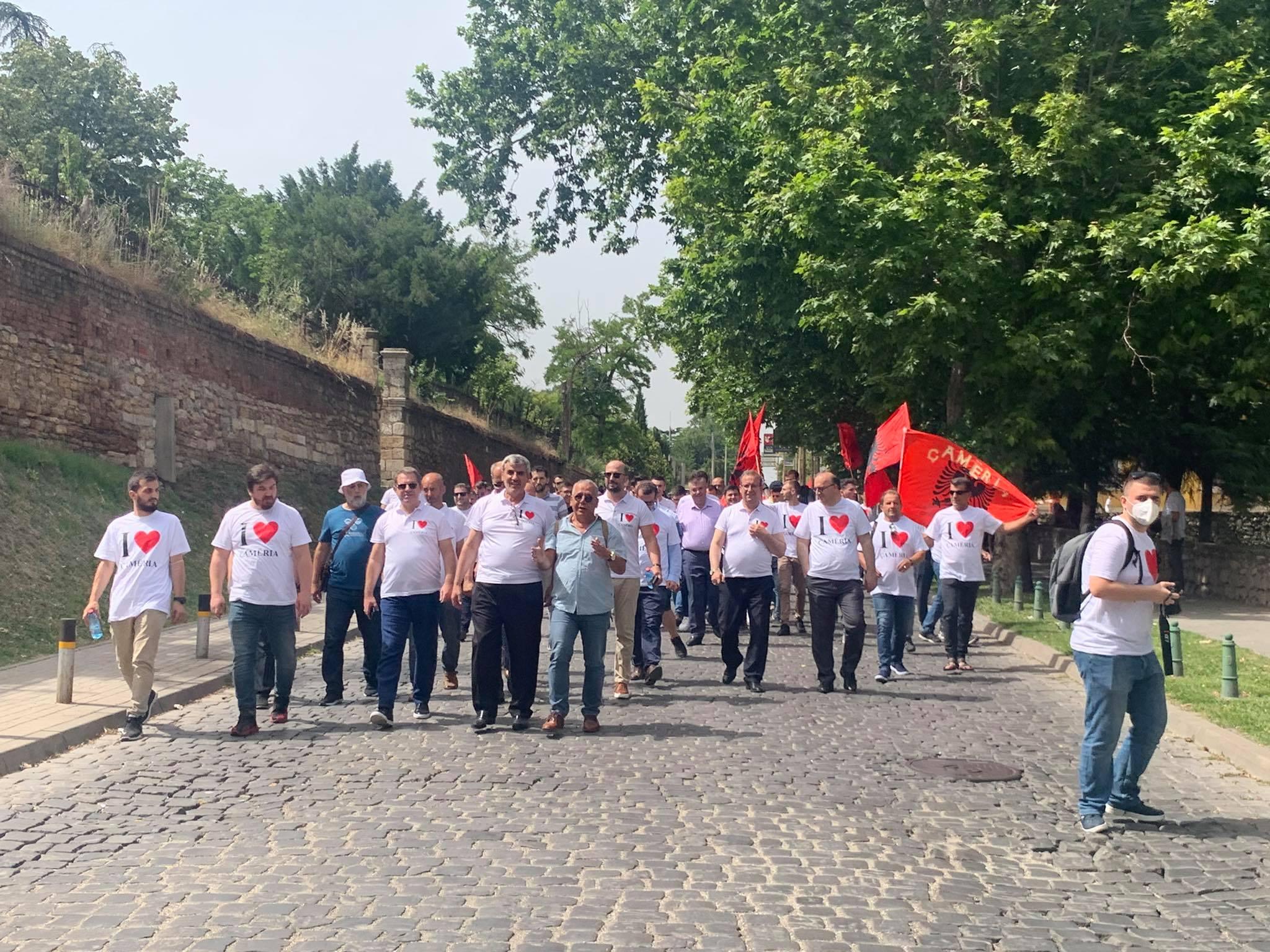 Yunan rejiminin Çameryalı Arnavutlara karşı işlediği soykırım ve ayrımcılık Üsküp'te protesto edildi
