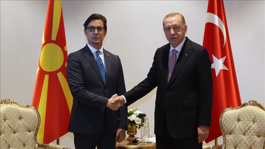 Cumhurbaşkanı Pendarovski, Türkiye Cumhurbaşkanı Erdoğan ile görüştü
